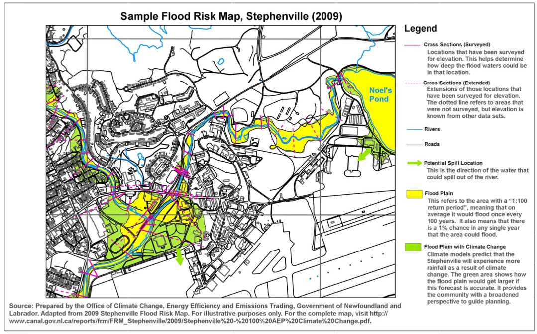 Flood Risk Map of Stephenville in 2009
